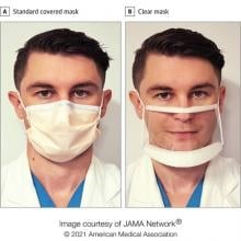 Picture of a doctor with a clear mask